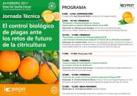 El próximo 24 de febrero se celebrará en Sevilla la jornada técnica 'El control biológico de plagas ante los retos de futuro en los cítricos'